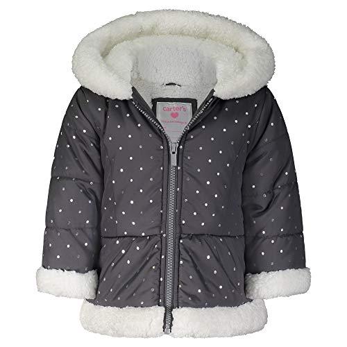 Carter's Heavyweight Winter Jacket Coat Chaqueta, Gris/Plateado Puntos, 6X para Niñas