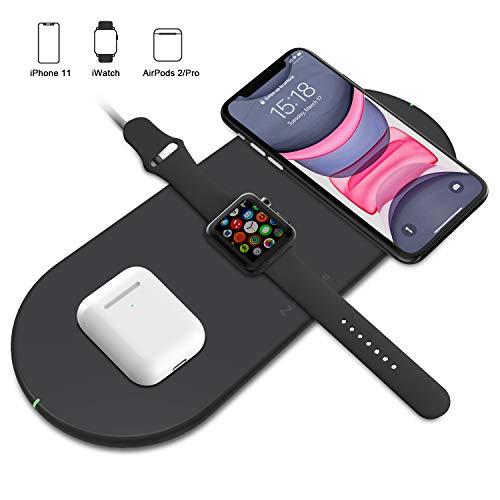 「2020年最新版」NANAMI Qi急速 3in1 ワイヤレス充電器 スマホ2台同時充電 iWatch充電器収納可能 7.5W/10W Qiuck Charge 置くだけ充電 iPhone SE (第2世代) /11 / 11 Pro / Xs / XR
