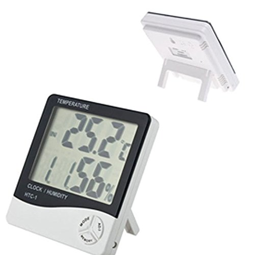 Temperature Hygrometer, Aobiny LCD Digital Humidity Meter with Alarm Clock Time