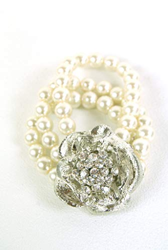 Jewellery - Bracelet Pearl and Diamante Cuff Bracelet With Silver Jewelled Flower