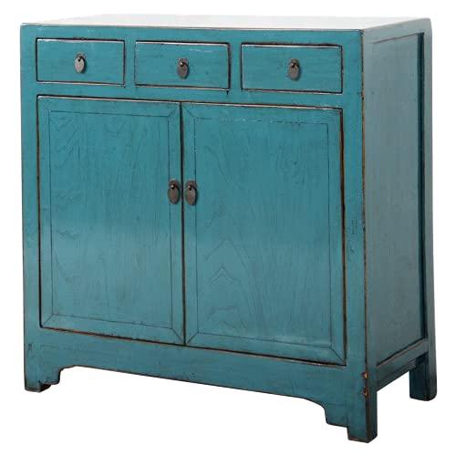 Fine Asianliving Aparador chino antiguo azul brillante W101xD40xH101cm aparador cómoda de cajones inspirado en Ming muebles chinos orientales de madera pintada a mano asiática 0x0x0cm