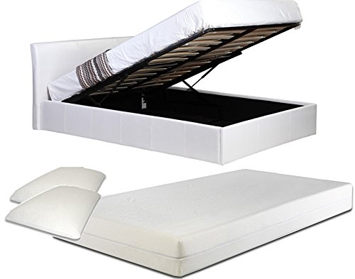 4ft6 Double White Ottoman Lift Up Storage Faux Leather Bed + 8 Inch Deep...