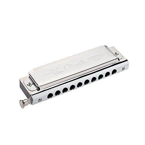 ammoon Armonica Cromatica 10 Fori 40 Toni Chiave d'argento di C con Scatola Squisita