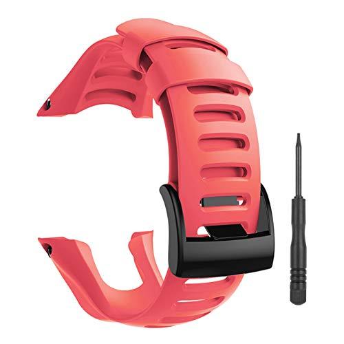 YHC Cinturino per SUUNTO Ambit 1 2 2R 2S 3 Sport Run Peak,Smart Watch Accessori per Cinturino di Ricambio Strap Silicone Regolabile (03-Rosso)