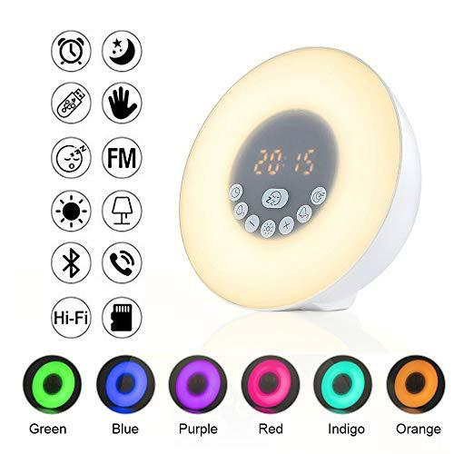Wake Up Licht Lichtwecker - OnlineTek Tageslichtwecker Wecker mit FM,Bluetooth 4.2,TF/AUX-Eingang,5 Natural Sounds,6 Auto Farben,Dimmbare Nachttischlampe mit Touch-Bedienung für Erwachsene und Kinder