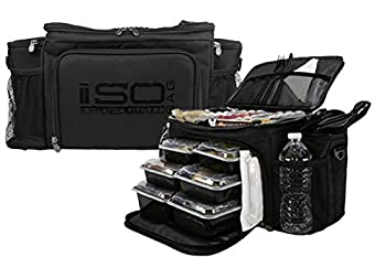 Meal Prep Lunch Box ISOBAG - Large Insulated 6 Meal Prep Bag/Cooler With 12 Containers 3 Ice Packs & Shoulder Strap  Blackout  - MADE IN USA