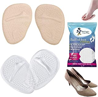 Medical Forefoot pads Ball of Foot Cushions gel Insoles shoe inserts (Self-Sticking) Metatarsal Pads for Women High Heels to Pain Relief. Dr.Eagle foot care () (Skin+Clear) 2 Count (Pack of 1)