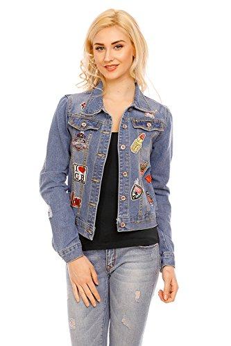 Mayaadi Damen Jeansjacke kurz Destroyed Ripped Jacke Denim Patches Aufnäher Blogger JE5517 Blau M