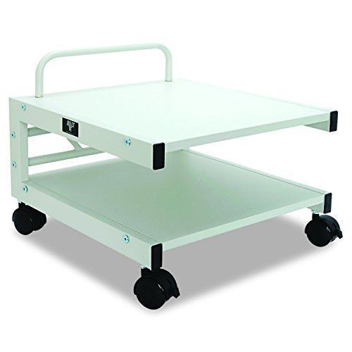 Balt Low Laser Printer Stand 27501 14H x 17W x 17D Brushed silver steel frame Gray laminate shelves