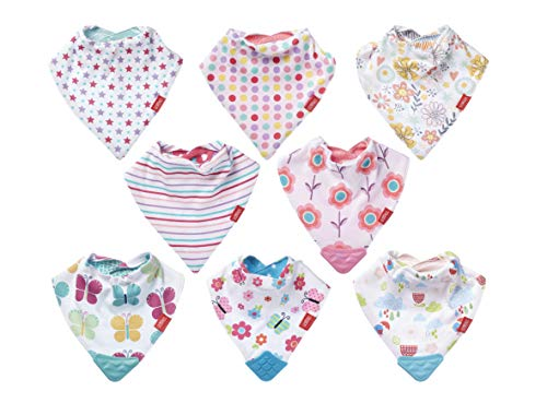 Nuby Reversible Bandana bibs, 8 Pack, Bibs for Babies 3 Months Plus