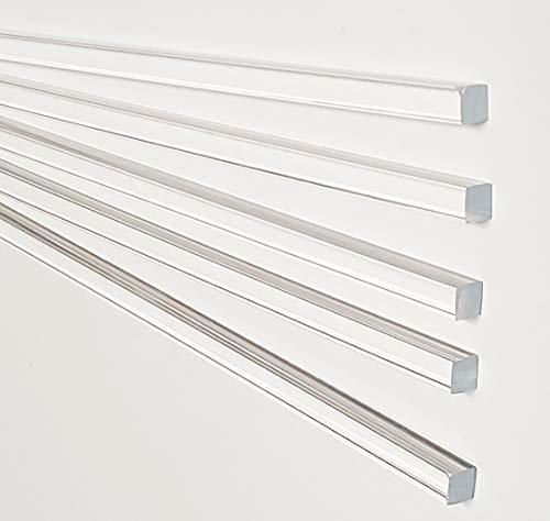 """5 Pcs 1 4"""" x 1 4  x 36"""" Long Square Clear Acrylic Plexiglass Plastic Rod - .25  - 6.35mm x 6.35mm Bar"""