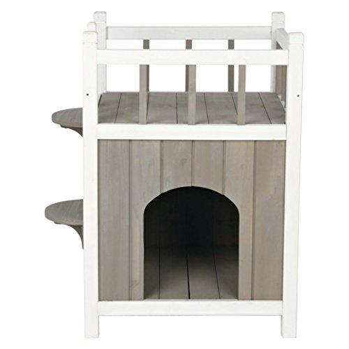 Trixie 44093 natura Cat's Home mit Balkon, 45 × 65 × 45 cm, grau/weiß