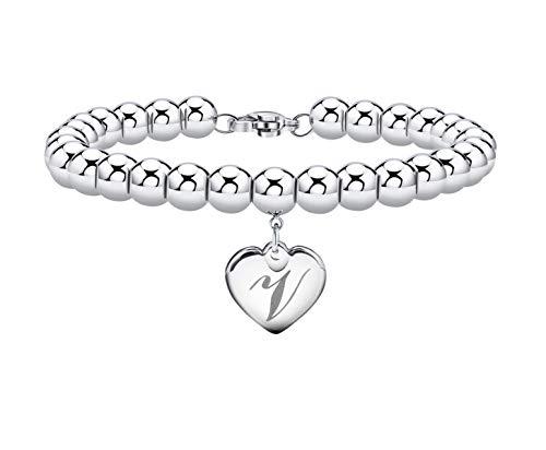 Initial Bracelet for Women Heart Tag Bead Bracelet Letter V Bracelets Birthday Gifts