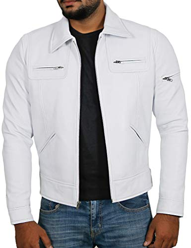 Laverapelle Men's Genuine Lambskin Leather Jacket (White, Small, Polyester Lining) - 1501200