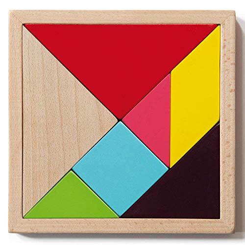 REMEMBER Tangram Challenge – Legespiel aus Holz für Kinder und Erwachsene (4er Set)