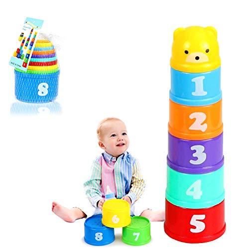 Stapelbare Becher Baby, Stapel Tasse Spielzeug, Klassisches Stapelspielzeug, Stapelbare Bunte Becher, Regenbogen-Stapelturm, Stapelwürfel Baby Sandspielzeug zum Sortieren