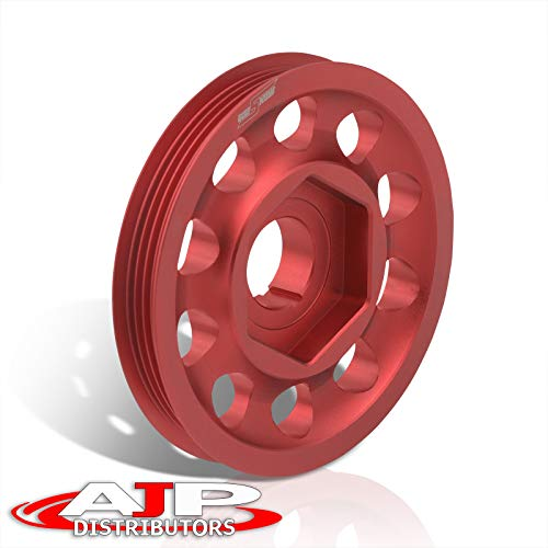 AJP Distributors Performance Racing Upgrade JDM Light Weight Aluminum Crankshaft Crank Shaft Pulley Wheel Kit Red Replacement For Integra Civic CRX Del Sol CRV B-Series B16 B18 B20 DOHC VTEC Engine