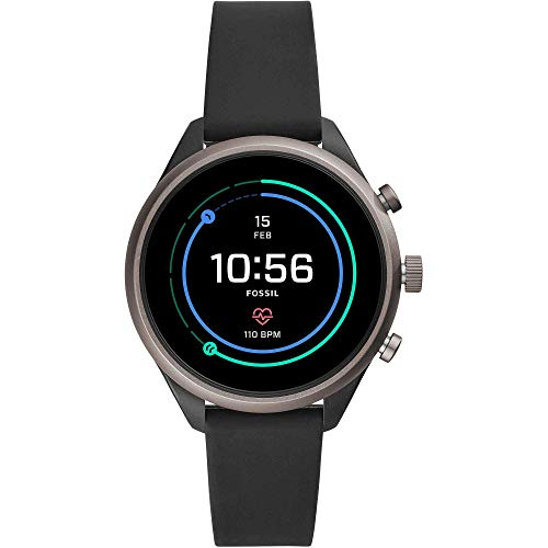 Fossil Women's Sport Heart Rate Metal and Silicone Touchscreen Smartwatch, Color: Grey, Black (FTW6024)