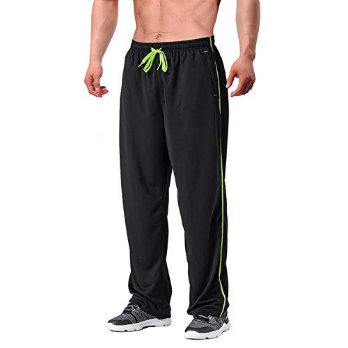EKLENTSON Herren Trainingshose Jogginghose Mesh Fußball Fitness Schnell Trocknende Hose mit Reißverschlusstaschen (Schwarz, XL -Neu)