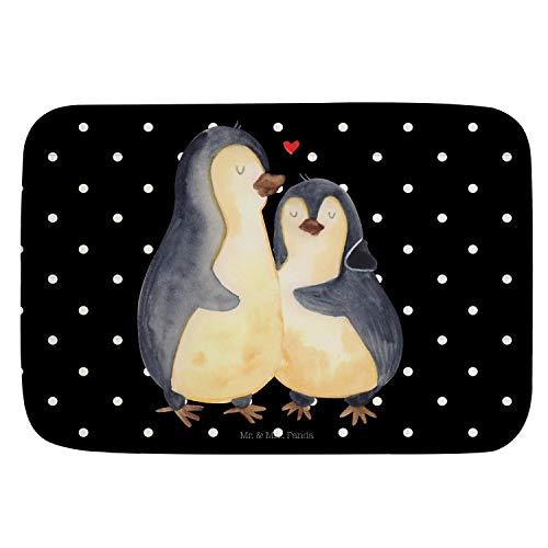 Mr. & Mrs. Panda Alfombra de baño, Alfombra de baño, Alfombra de baño, Alfombra de ducha, antideslizante, Alfombra de baño, Alfombras de baño abrazo de pingüino Ohne Text Din Quer - Color Negro