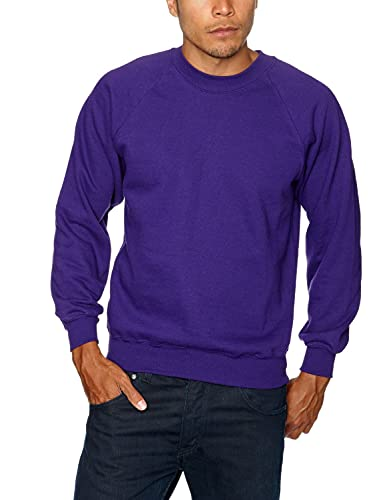 Fruit of the Loom Raglan Sweatshirt, Felpa Uomo, Viola (Purple), Small