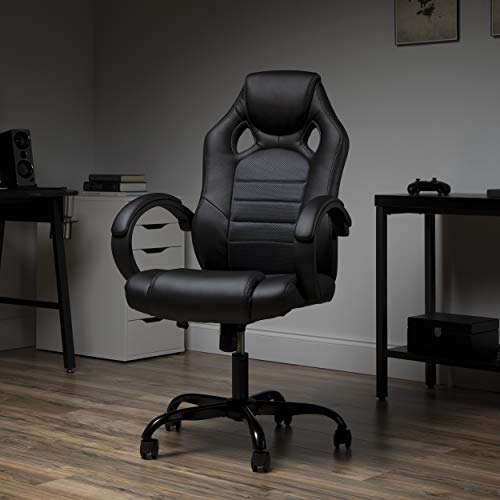 OFM ESS Collection High-Back Gaming Chair, Padded Loop Arms, Gray