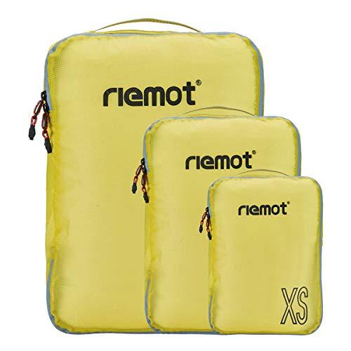 Packing Cubes de Compresión, Organizadores de Equipaje, 3 Set Organizador para Maletas, Bolsas para Ropa Zapato Sucia de Viaje, Accesorios para Viajes de Riemot Amarillo