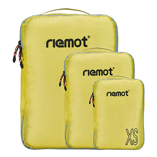 Set di 3 Organizer Valigie, Packing Cubes per Valigia e Zaino, Cubi Organizzatori di Viaggio per i Vestiti, Sacchetti di Compressione Travel Accessories di riemot Giallo