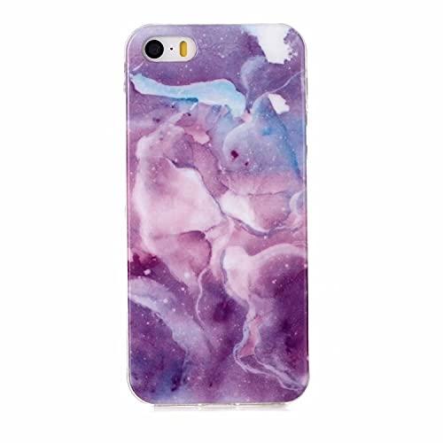 Miagon Marbre Coque pour iPhone 7 Plus/8 Plus,Ultra Mince Marbre Housse Souple TPU Silicone Coque Anti-Rayures Anti-Choc,Purple Sky