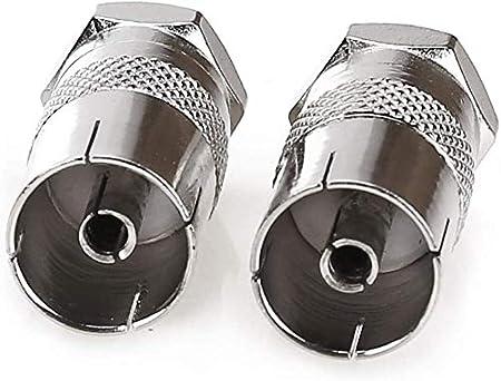 de cobre tipo F macho a antena CATV TV FM PAL hembra RF coaxial adaptador conector para TV sat/élite DVR plata Adaptador de enchufe hembra RF a tipo F macho tipo F