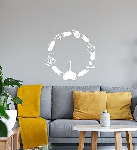 shirt84.de - Adhesivo decorativo para pared (40 x 40 cm), diseño de cerveza, color blanco