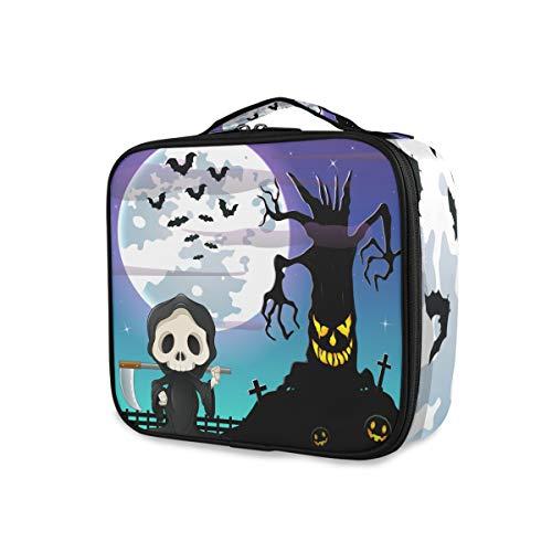 Halloween Mond Schädel Kürbis Kulturbeutel Mädchen Tragbare Aufbewahrung Reisewerkzeuge Kosmetische Zugkoffer Make-up-Tasche