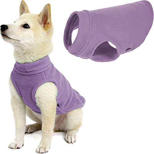 Gooby Stretch Fleece Dog Vest - Lavender, Medium - Pullover Fleece Dog Sweater - Warm Dog Jacket Winter Dog Clothes Sweater Vest - Dog Sweaters for Small Dogs to Large Dogs for Indoor and Outdoor Use