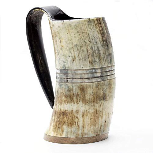 "Norse Tradesman Echter Wikinger Trinkhorn Becher - 100 % authentischer Bierhorn Humpen mit Palisanderboden & Ringgravuren | ""The Eternal"", unpoliert, ca. 500 MLS"