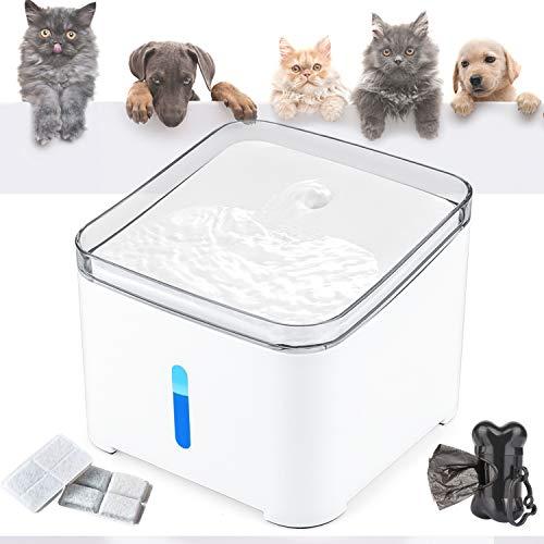 Makife Fuente de Agua para Gatos 2L Bebedero Automático Fuente de Agua para Mascotas Gatos Perros Luz LED nivel de agua visible filtros reemplazados, carga USB 15pcs Bolsas para excrementos d