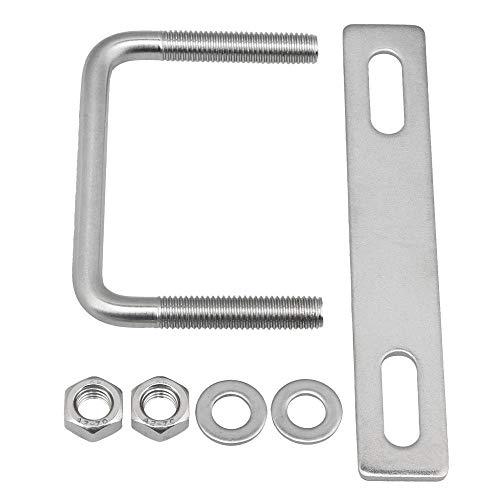 Mxfans 304 Edelstahl Vierkant U-B/ügel mit Plattenset Rohrverschlu/ß Silber