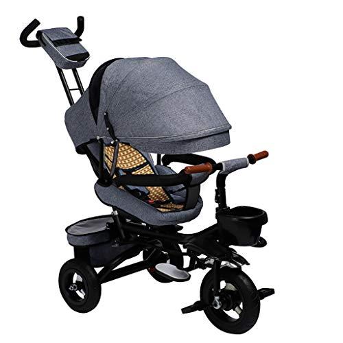 Triciclo Bebe Niño 4 En 1 Plegable Triciclo,1-6 Años De Edad Infantil Sombrilla Triciclos,Triciclo con Asa,Regalo De Cumpleaños,3 Colores (Color : Gray)
