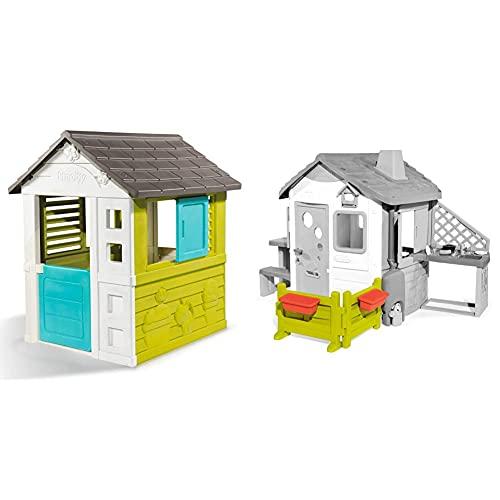 Smoby – Pretty Haus - Spielhaus für Kinder für drinnen und draußen, erweiterbar durch Zubehör & Gartenzaun mit Blumenkästen – Zubehör für Kinder-Spielhaus, auch freistehend im Garten