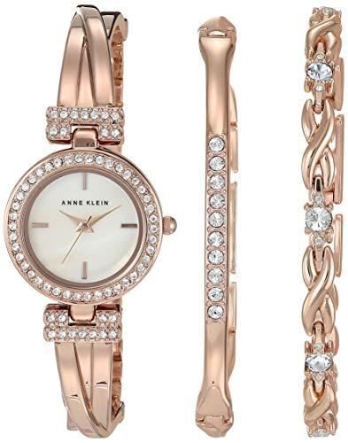 Anne Klein Women's Swarovski Crystal Accented Watch and Bracelet Set, AK/3570