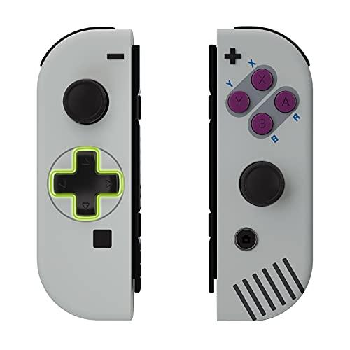 eXtremeRate Carcasa D-Pad Versión con ABXY Drecctión Botones para Nintendo Switch Joy-con OLED Funda de Agarre Reemplazo para Nintendo Switch No Incluye Carcasa de Consola(Clásico 1989 GB DMG-01)