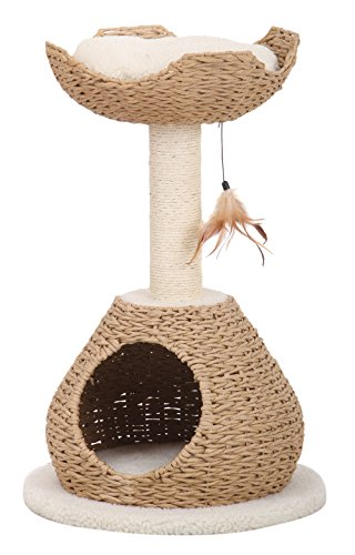 Petpals Hand Made Paper Rope Cat Tree Condo with Scratching Post, Perch and Interactive Feather Toy, Natural