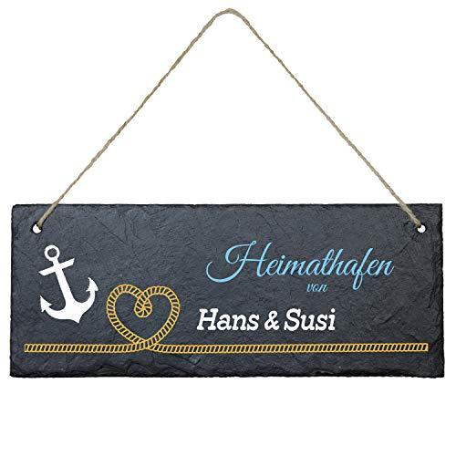 Schiefertafel Heimathafen (Herz-Tau, farbig): personalisiertes Türschild mit Namen und Spruch - Maritime Wanddeko, modernes Anker Design; Türschild, Deko