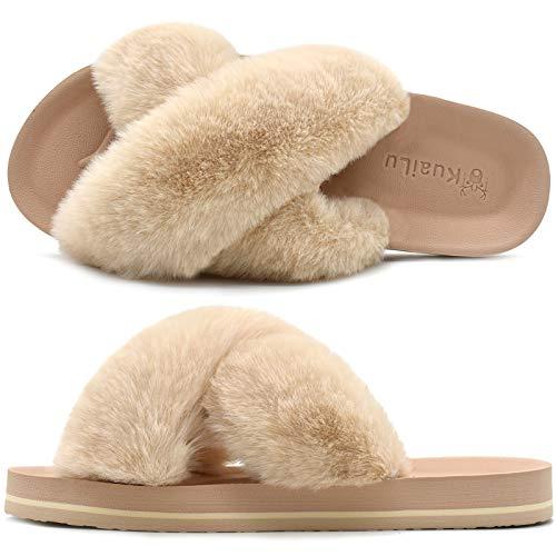 Damen plüsch Hausschuhe offener Zeh Frauen bequem Kunstpelz Pantoffeln Flauschige Fell rutschfest Sandalen Beige Größe 40