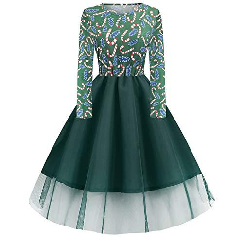 BIKETAFUWY Weihnachtskleid Damen Langarm Kleid mit Gürtel Kostüm Kleider Weihnachten Rockabilly...