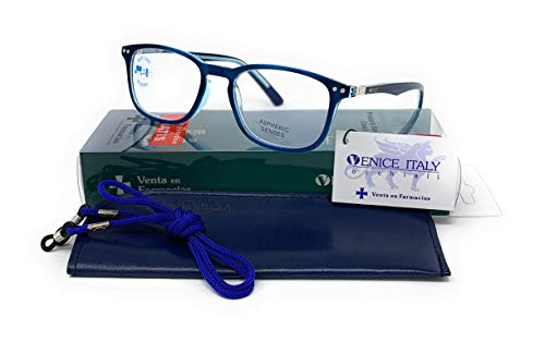 Gafas de lectura con filtro bloqueo de luz azul para gaming, ordenador, móvil. Anti fatiga professional unisex venice (Azul con Blue blocking, 2.50)