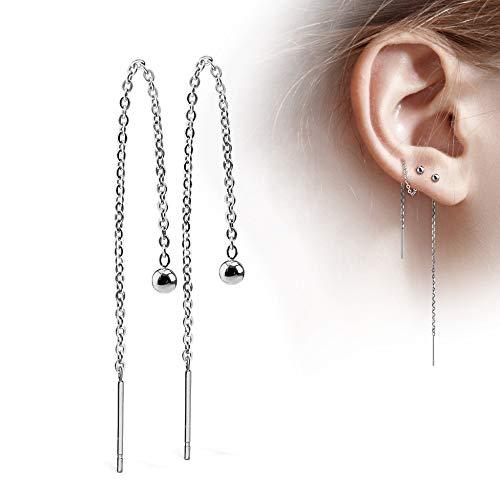 Treuheld® | Silberne Ohrstecker mit Kette - Edelstahl Ohr-Ringe in Silber mit Kugel - glänzende Ohrstecker für Damen und Kinder - sehr elegant - ohne Verschluss