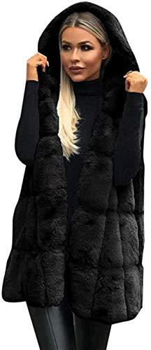 Mujeres sin mangas con capucha abrigo Color sólido más el tamaño caliente chaleco de lana larga Cardigan