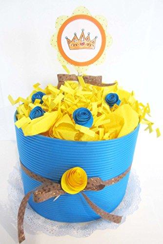 Torta di Pannolini DODOT | Modello IRIS | Personalizzabile con il Nome del Bebé | Diaper Cake | Baby Shower Gift Idea | Tono Neutro, UNISEX (per Femminucce e Maschietti)