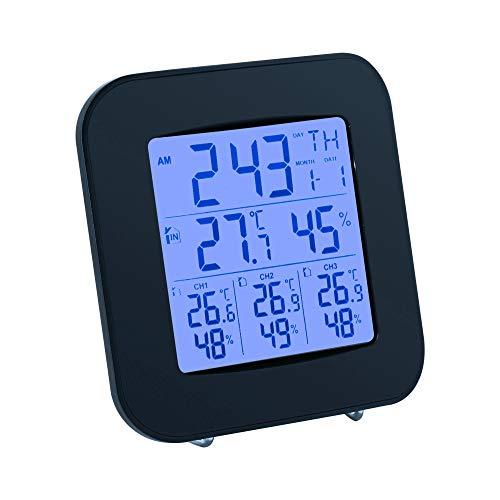 """Mcbazel WEA-46 Digitale drahtlose 3,8\"""" Display-Wetterstation mit Thermometer und Hygrometer, 3 Außensensoren, Wecker, Temperatur- und Luftfeuchtigkeitsmessung - Farbe: Schwarz"""