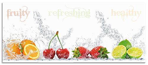 Artland Spritzschutz Küche aus Alu für Herd Spüle 120x50 cm Küchenrückwand mit Motiv Obst Früchte Orange Limette im Wasser Spruch Modern Hell S6JP